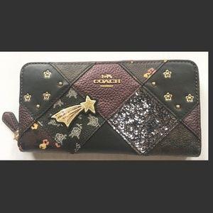 COACH Lucky Star Patchwork  Accordion Zip Wallet